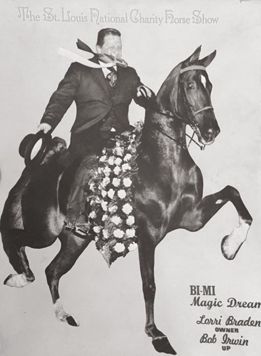 Vintage, black-and-white St. Louis National Charity Horse Show advertisement
